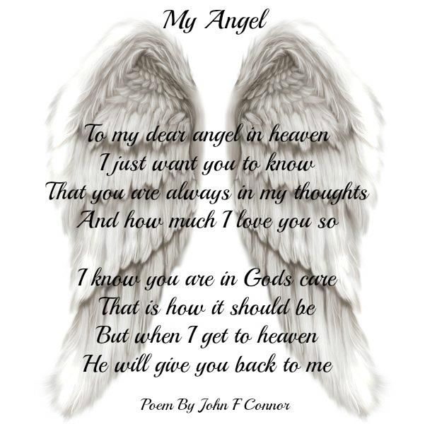 To My Dear Angel In Heaven I Just Want You To Know That You Are
