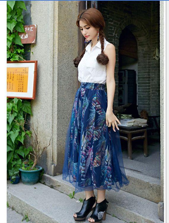 Blue Long Maxi Skirt High Waisted Soft Linen by LovingbeautyFur