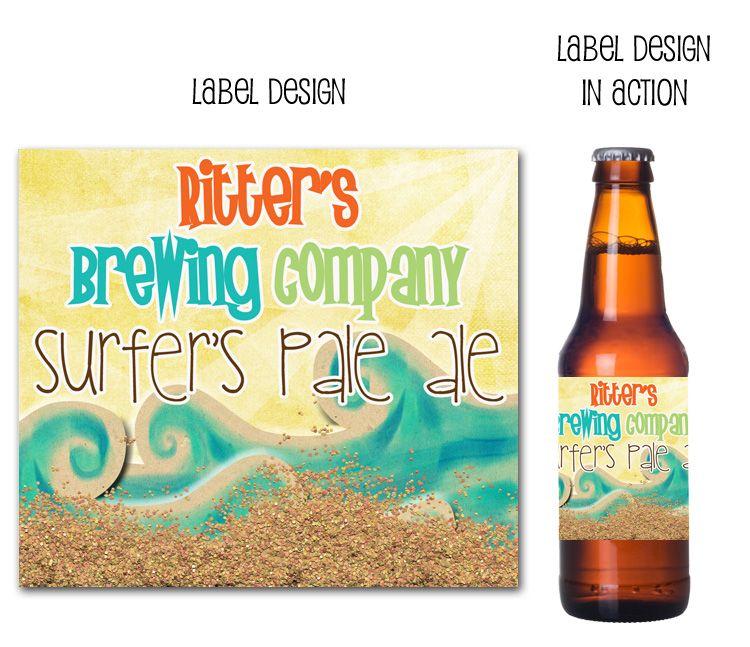 Retro Surf Beer Label-Retro Surf Beer Label, beer labels, surf beer labels, drink wraps, beer bottle labels, surfer party decor, surfs up beer labels, drink wraps