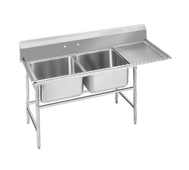 Advance Tabco Regaline Sink Two Cmpt 20 94 22 40 36r Regaline Sink Two Compartment W Right Hand Drainboard 20 Fron Advance Tabco Sink Hazelwood Home