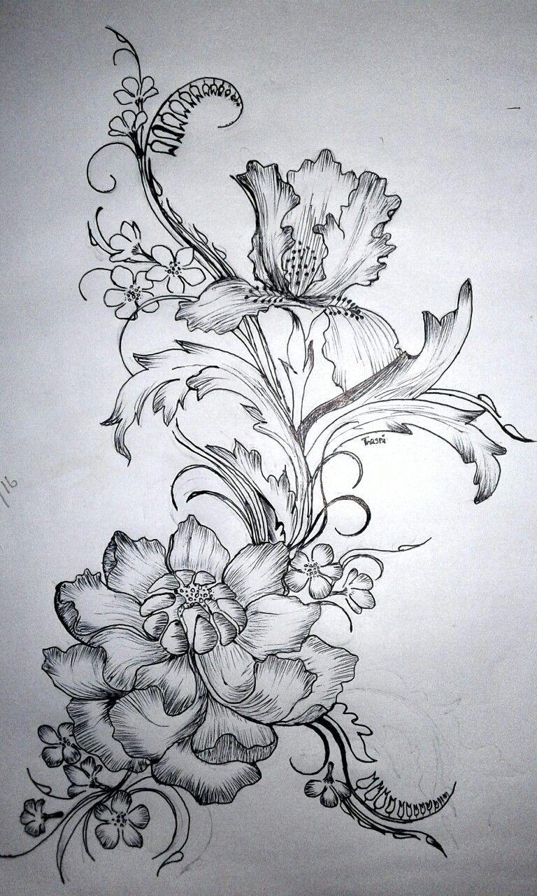 Flower design pencil drawing