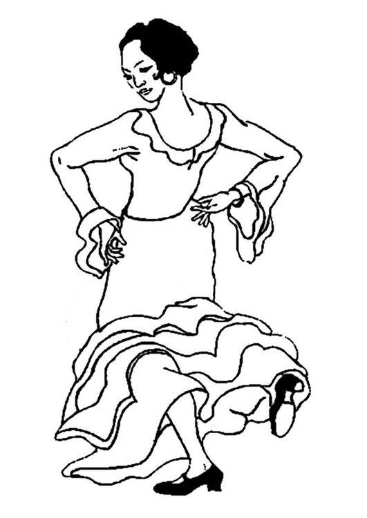 malvorlage flamencotänzerin  ausmalbild 19007  flamenco