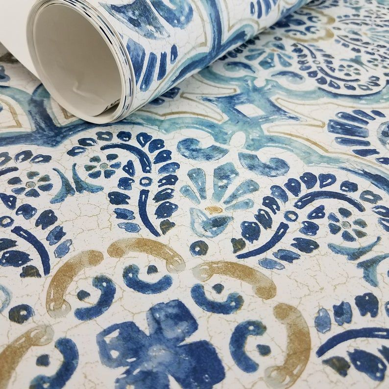 Peel And Stick Vintage Chic Blue Florentine Medallion Tile Etsy In 2020 Stick On Tiles Feature Wall Wallpaper Vintage Chic