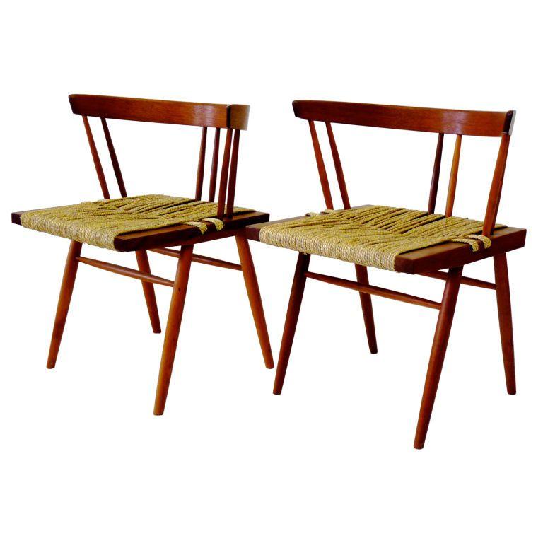 Pair George Nakashima Grass Chairs