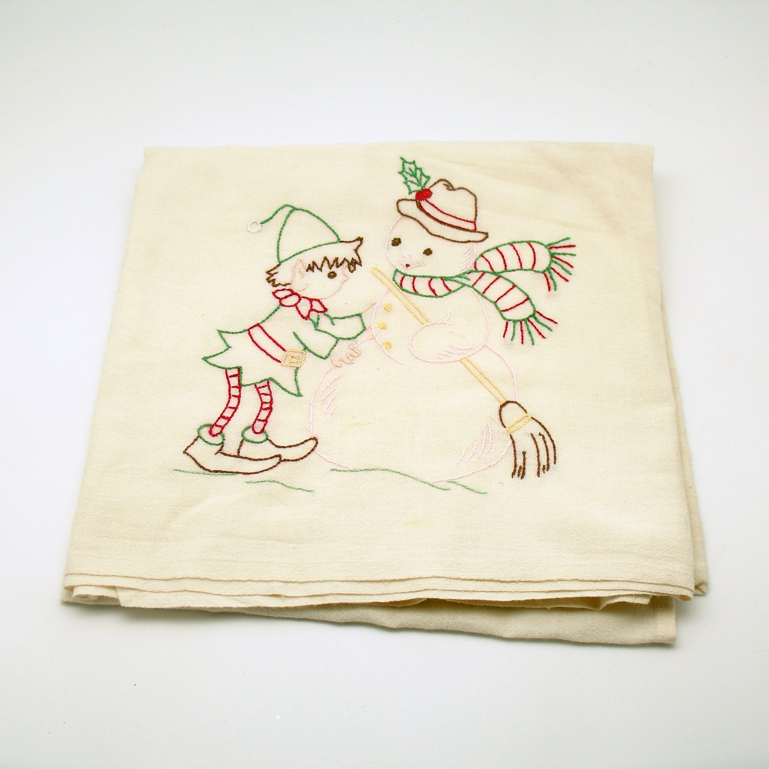 Vintage Kitchen Towel Flour Sack Pixie Snowman Christmas Towel by efinegifts on Etsy