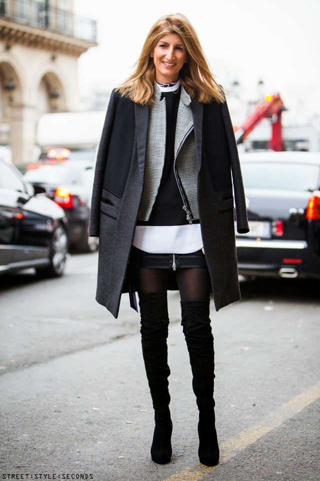 over the knee boots - layering. Paris fashion week, street style ...
