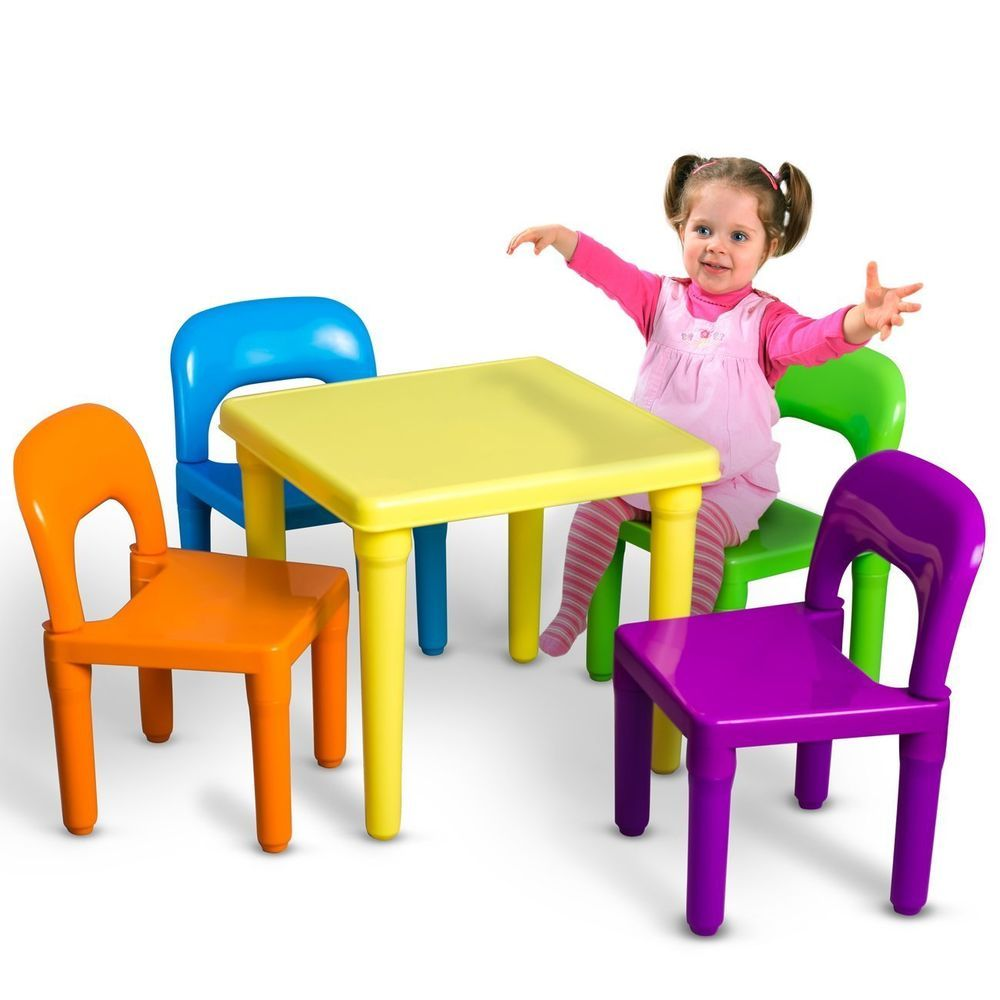 Children Durable Activity Plastic Table And Chairs Set Of 5 Tea