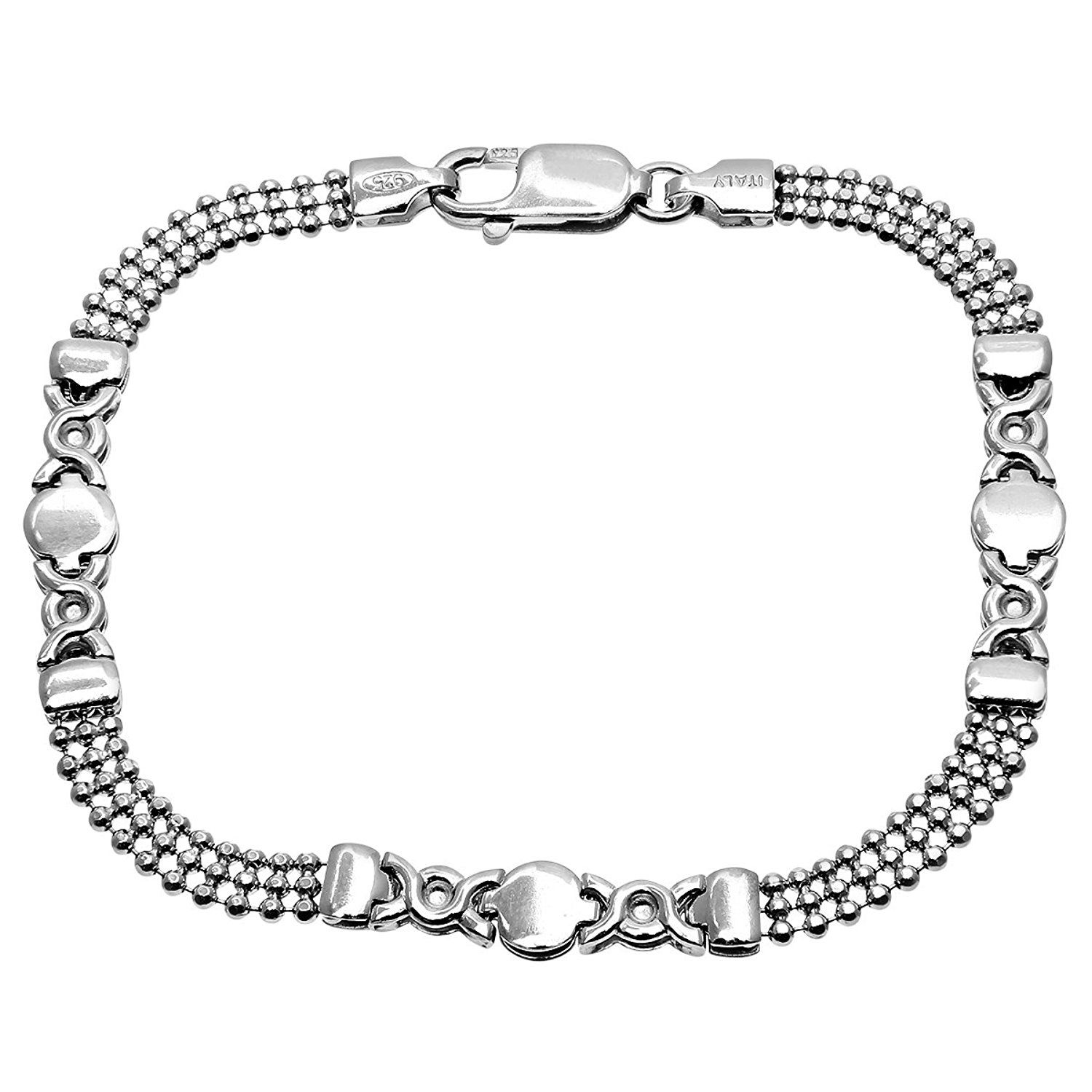 Citerna Sterling Silver Fine Mesh And Round Links Bracelet of Length 19 cm OumICan
