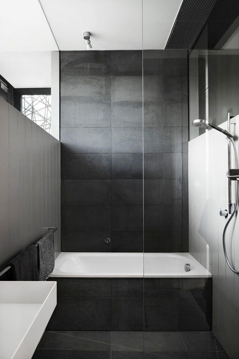 Bathroom Tile Idea Use Large Tiles On The Floor And Walls 18 Pictures Dark Cover Bath Surround Back Wall Of This