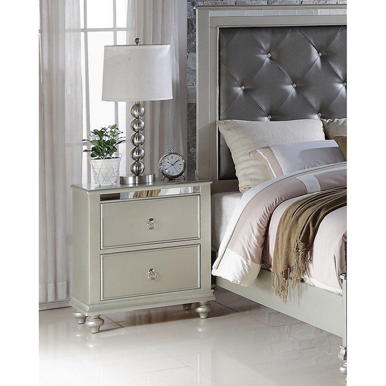Best Lyke Home Nevaeh Silver Nightstand Nevaeh Silver 400 x 300