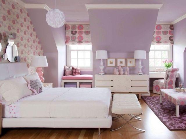 Kinderkamer jeugd kamer meisje lila dak wit meubilair