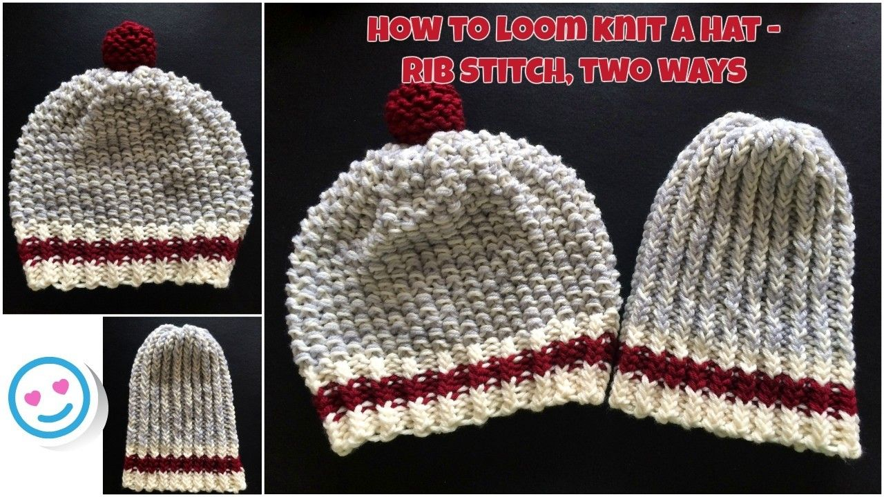 How to loom knit a hat - rib stitch, 2 ways ~VERY EASY~ #loomknitting