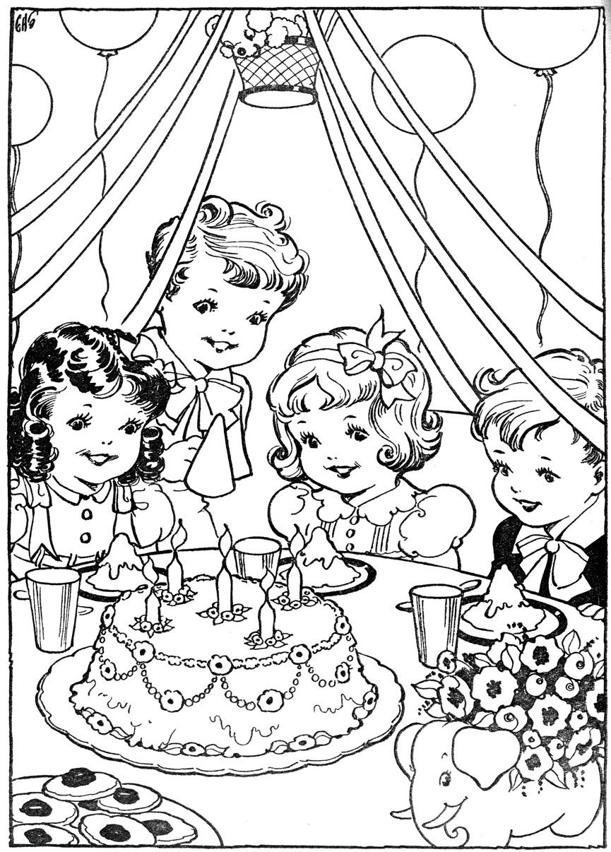 vintage kleurplaat verjaardag partijtje having fun at home coloring pages vintage