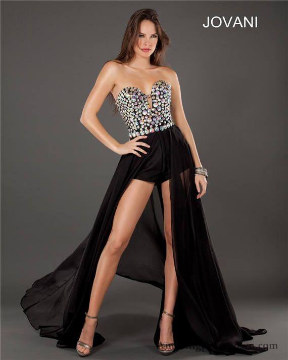 Strapless Stones Black Jovani High Low Evening Dresses 3 | Formal ...