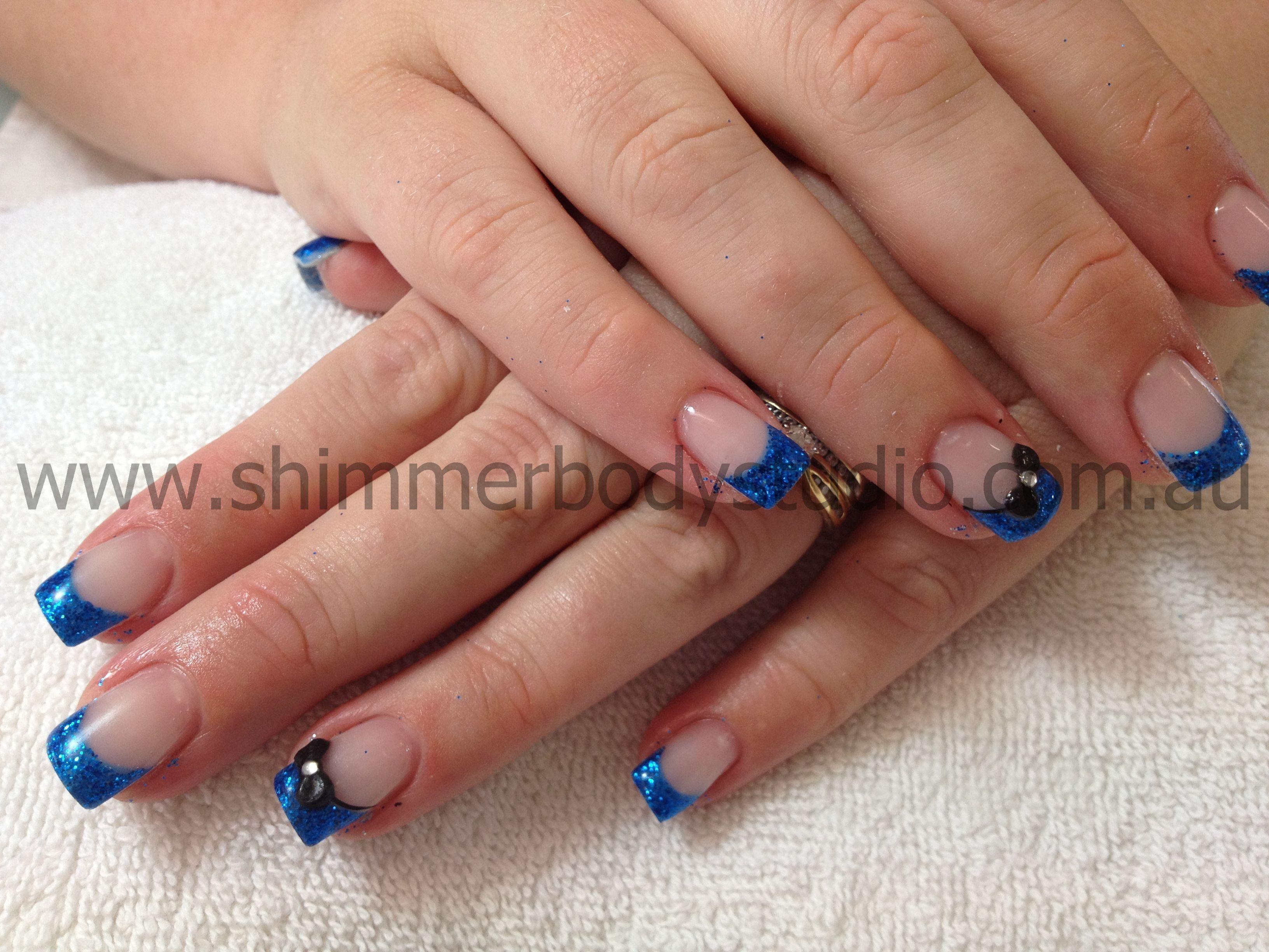 Gel nails, Colour Nails, Blue nails, 3d nail Art, Black Bows ...