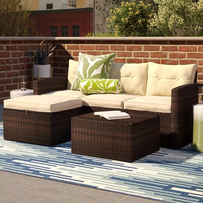 Pin On Conservatory Sofa, Patio Furniture 3 Piece Sectional Sofa Resin Wicker Beige