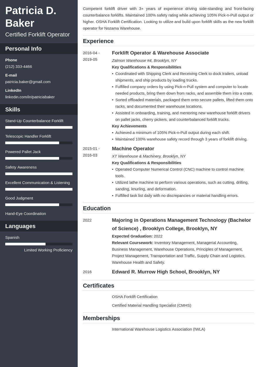 Forklift Operator Resume Example Template Cascade Teacher Resume Examples Resume Examples Manager Resume