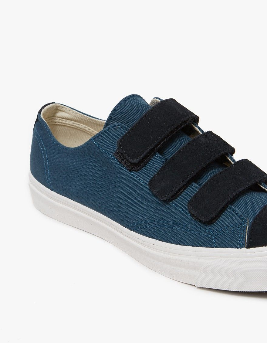 8a1f869af983a7 Classic low top sneaker from Vault by Vans in Star Gazer. Three strap velcro  closure. Reinforced toe cap. Tonal stitching.
