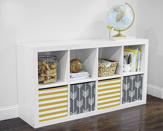 Rayure Moutarde Housse De Rangement Sinsere Dans Kallax Ikea Ikea Storage Units Ikea Boxes