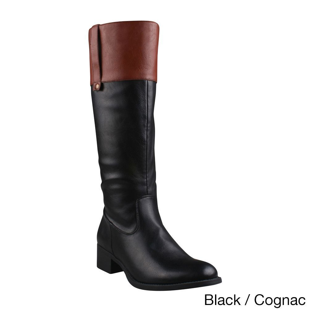 Womens Brinley Co Womens Side lace Round Toe Riding Boots Wholesaler Size 38