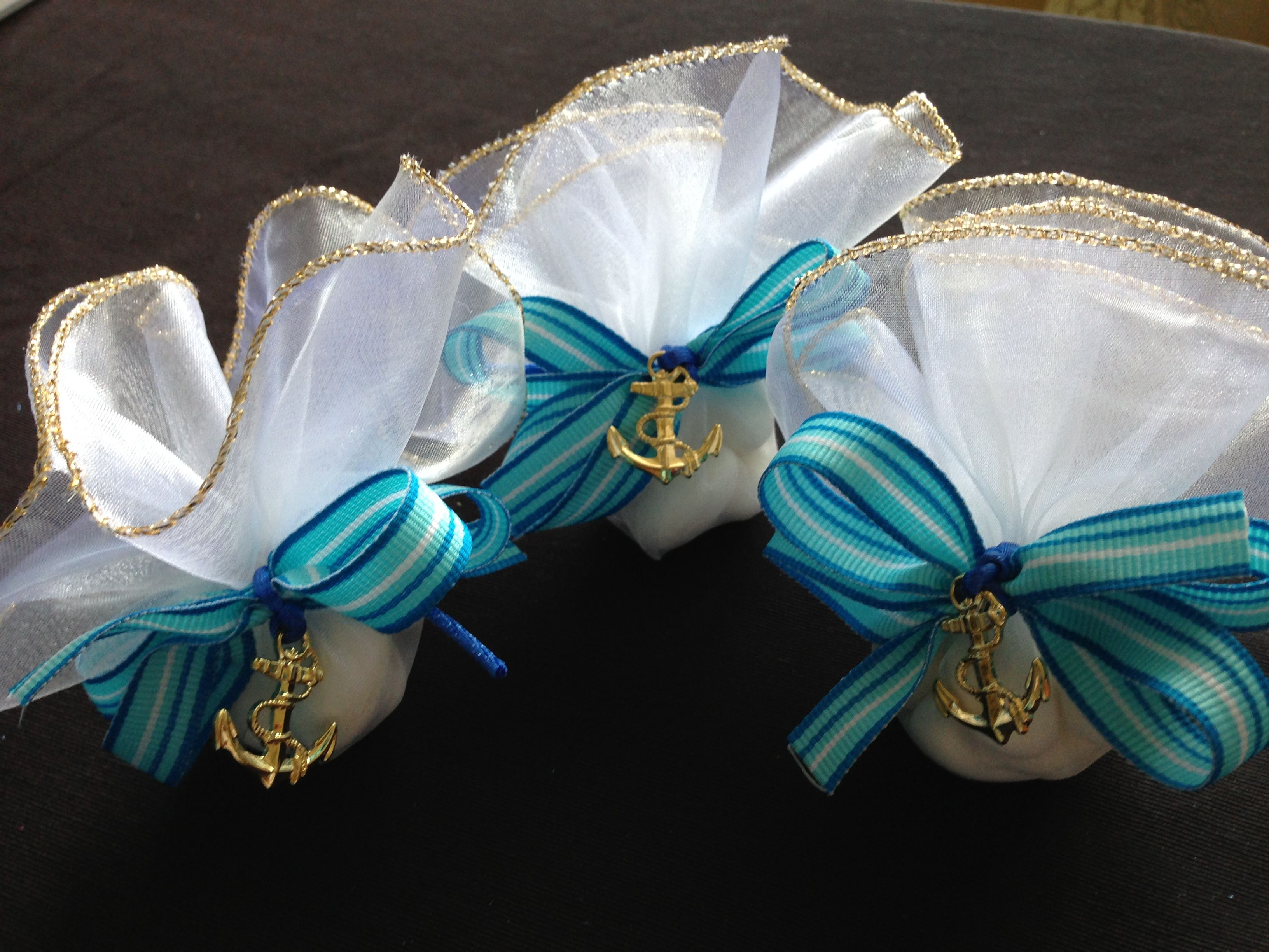 Sailor themed party favors for a special boy baptism