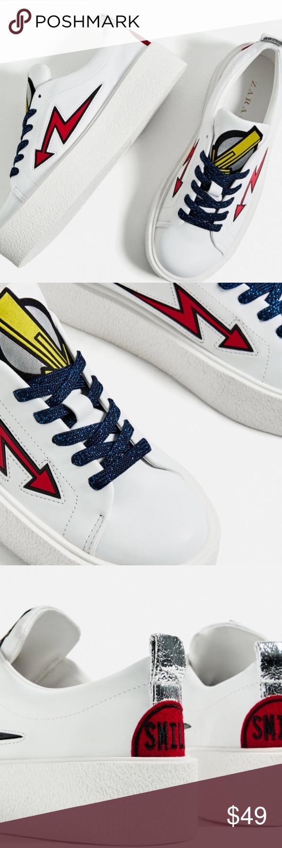 Zara Patch Platform Sneakers Nwt