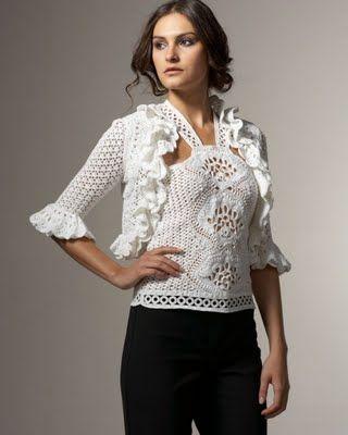 CARAMELO ARDIENTE es... LA PRINCESA DEL CROCHET: blusa blanca