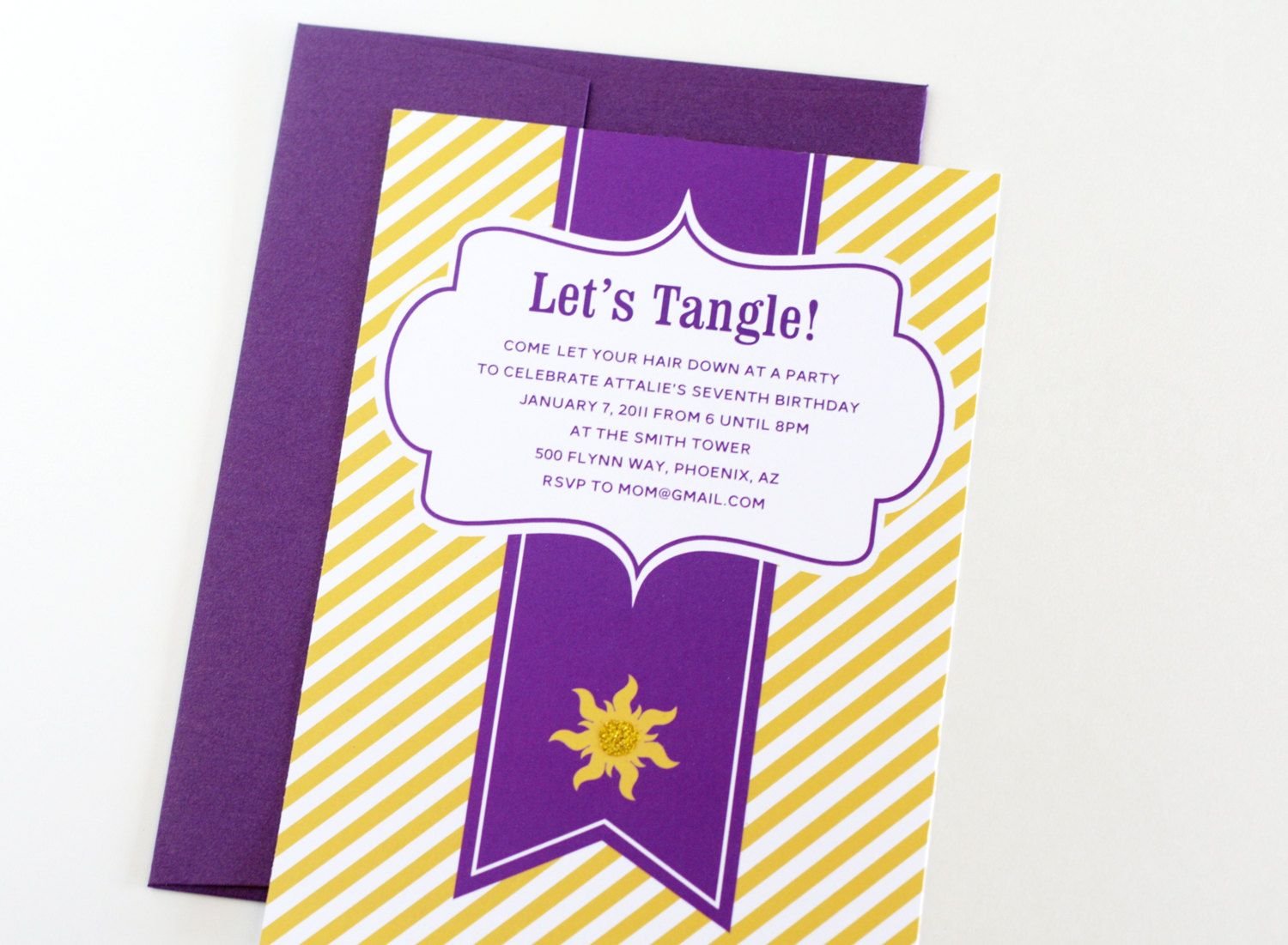Rapunzel Tangled inspired Invitations Lets Tangle Personalized