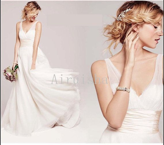 Charming deep V neck  lace on the bust by Airuishaweddingdress, $189.00