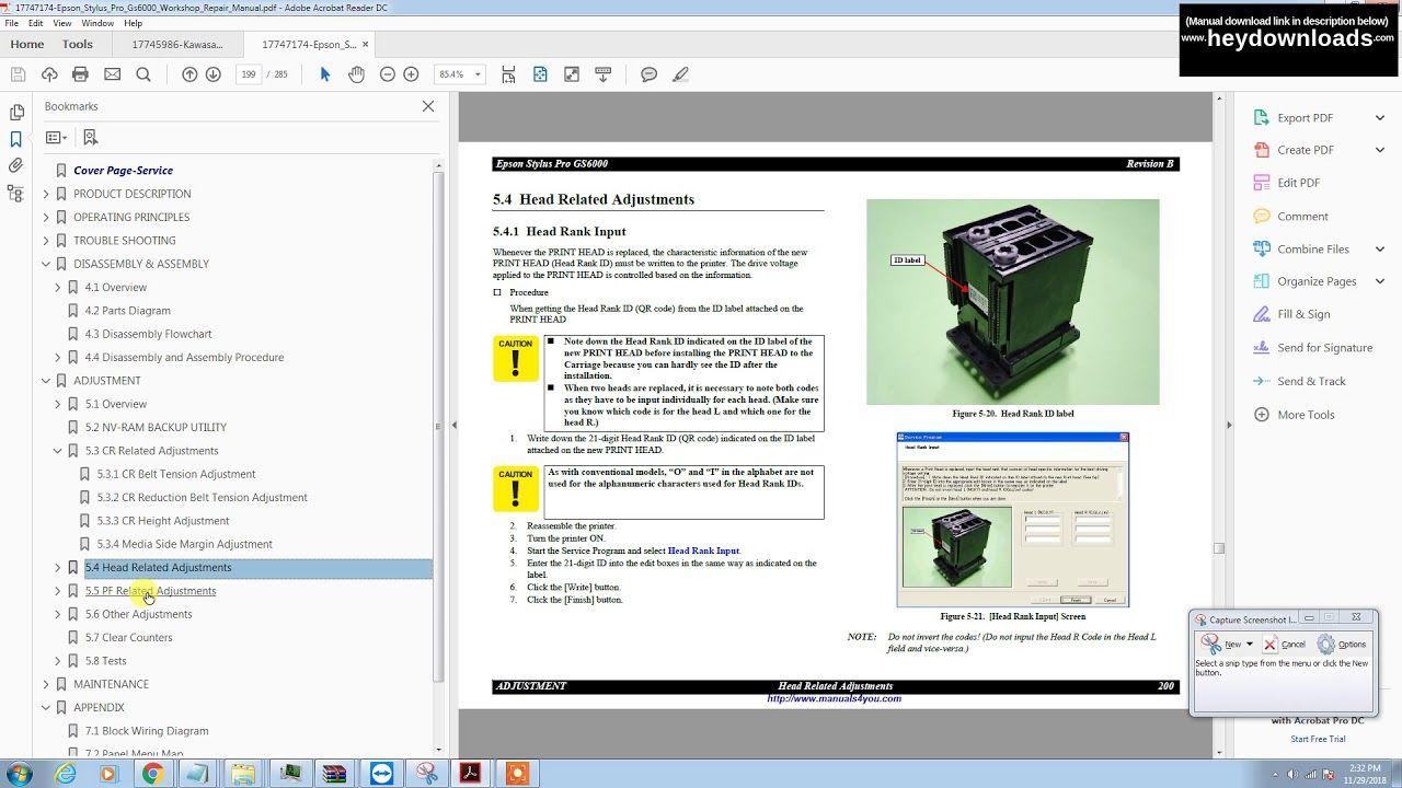 Epson Stylus Pro Gs6000 Workshop Repair Manual Download In 2020 Repair Manuals Repair Manual
