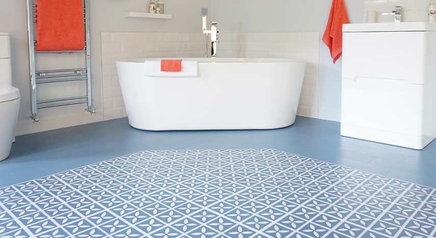 blue designer bathroom vinyl flooring