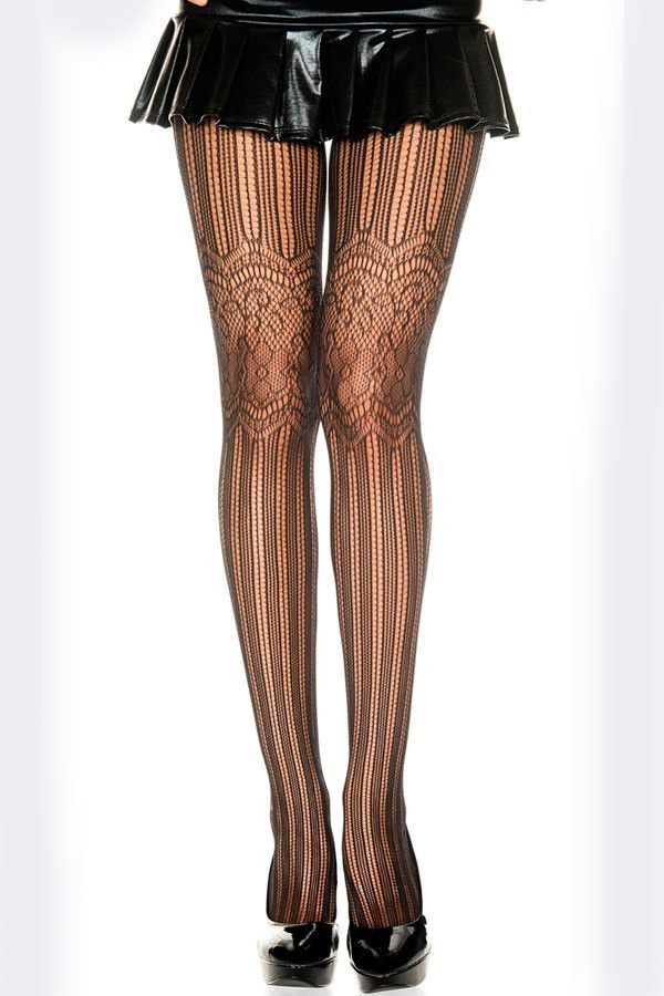 888231556d4 Net and Floral Lace Pantyhose