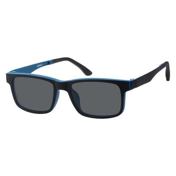 8a33a25026e Black Rectangle Glasses with Magnetic Snap-On Shades  640621