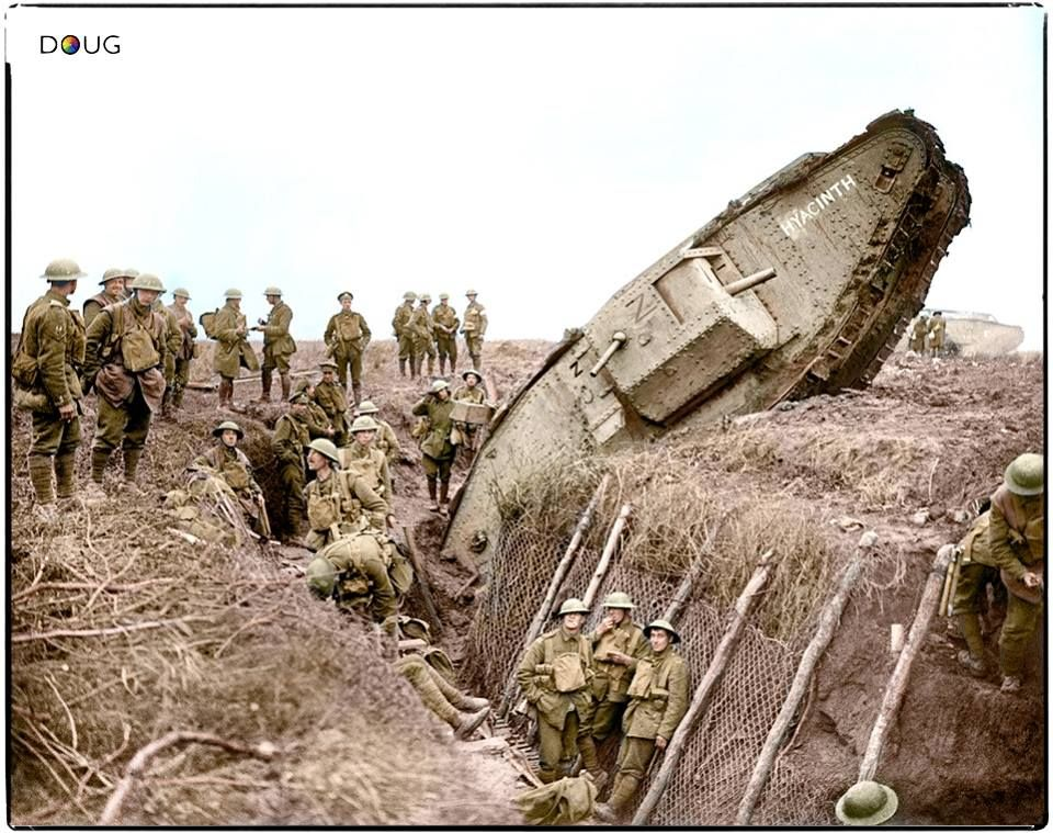 A Mark IV (Male) tank H45 'Hyacinth' of H Battalion ditched in a German trench while supporting the 1st Battalion, Leicestershire Regiment, one mile west of Ribecourt. Some men of the battalion are resting in the trench, 20 November 1917. Commanded by 2nd Lt. Jackson, H Btn, 24 Coy, 10 Sec. During the attack it reached the first objective of the day, The Hindenburg Line, before falling in the ditch. (additional info from John Winner) (Photo source - © IWM Q 6433) Photographer - Lt. John…