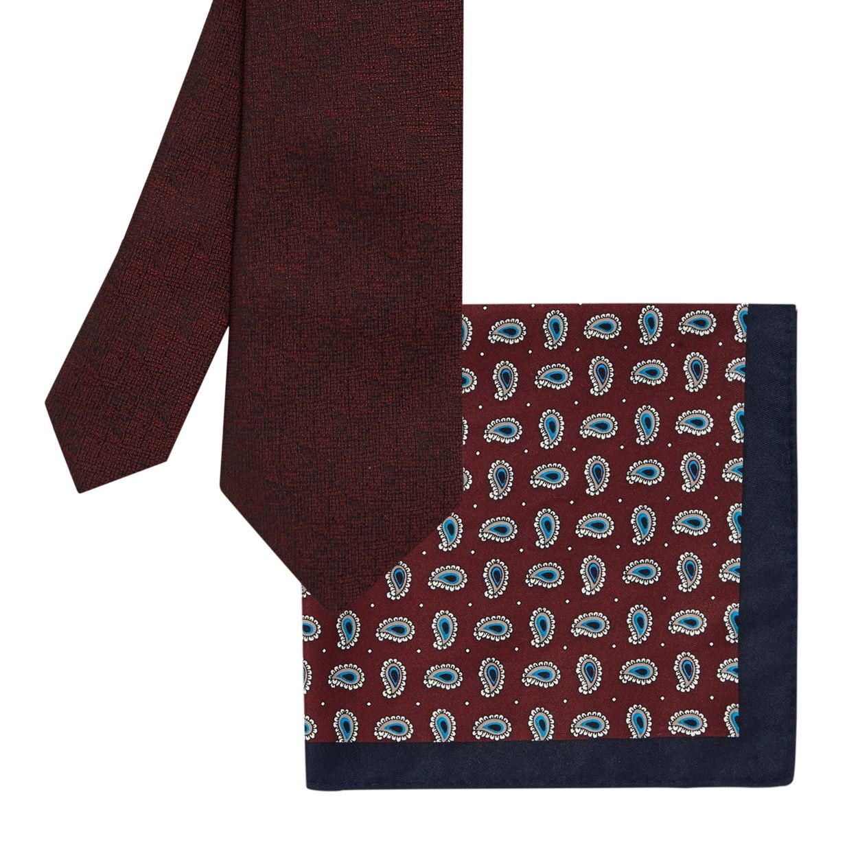 Jeff banks dark red paisley tie and pocket square gift set