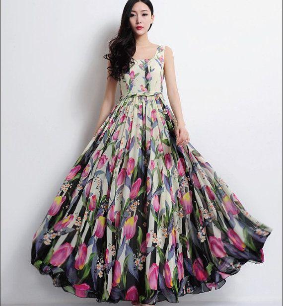 tulipe rose floral sangle a line robe boh me boho mariage demoiselle d 39 honneur maxi jupe pliss e. Black Bedroom Furniture Sets. Home Design Ideas