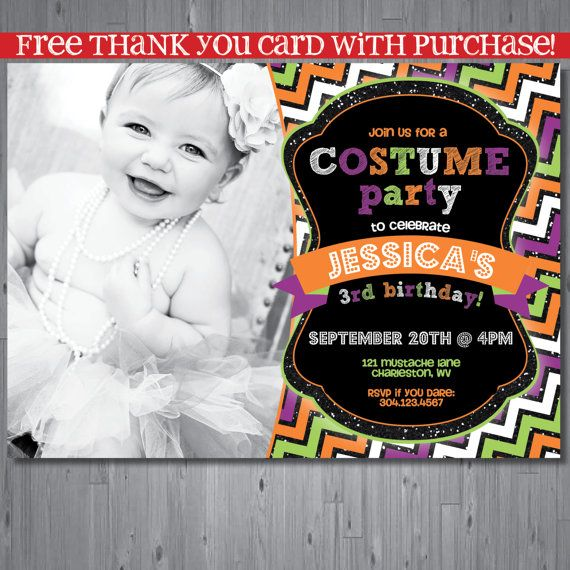 Halloween Birthday Invitation First Costume Party Printable FREE Thank You Card On Etsy 1500