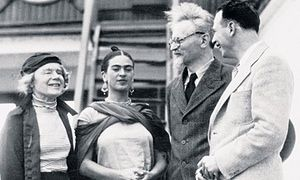 Trotsky (with glasses) pictured next to Frida Kahlo on arriving in Mexico in 1937. Photograph: © Bettmann/Corbis