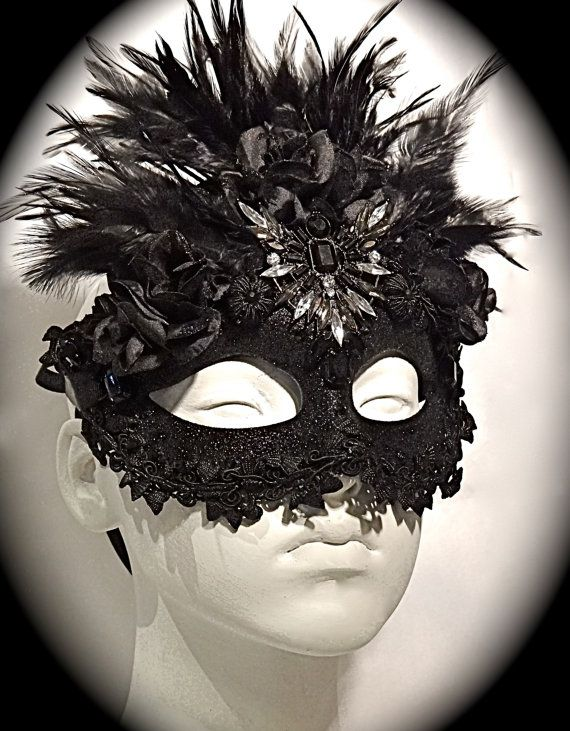 Black Marie Masquerade Mask Embellished Goth Art by Marcellefinery