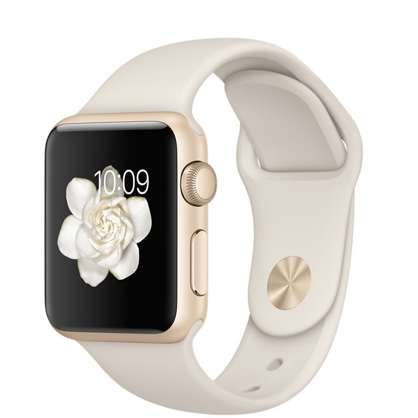 5c73174a232 Get free shipping and returns when you buy a 38mm Apple Watch Sport with a  gold aluminum case and antique white sport band online.