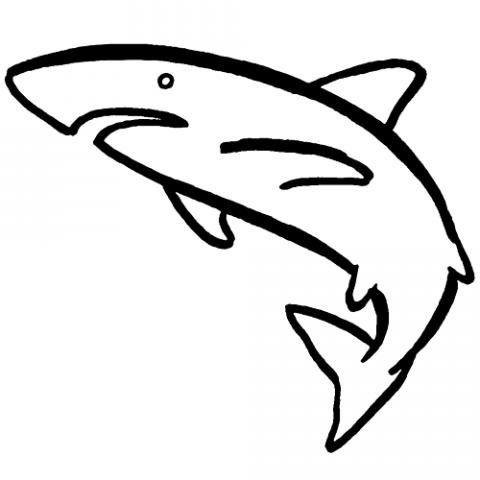Tiburón nadando: Dibujos para colorear | Tiburones | Pinterest