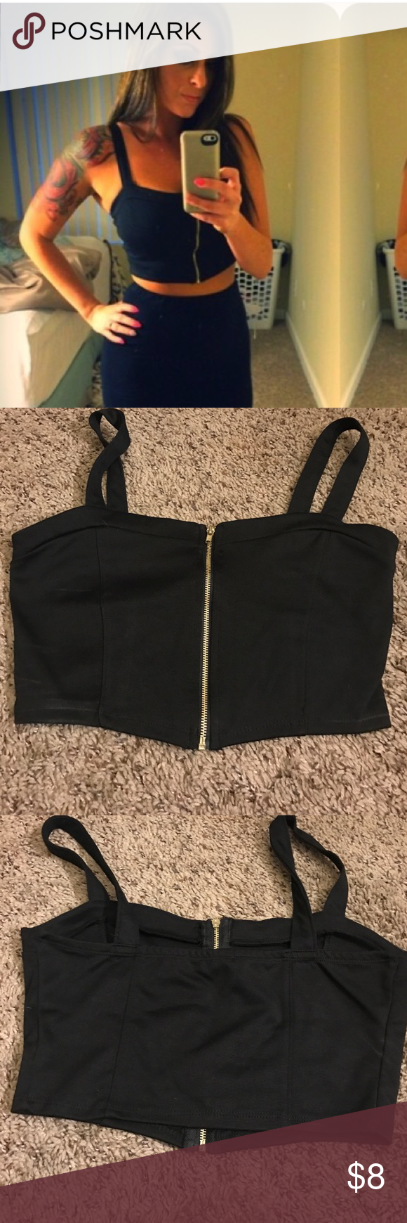 Black crop top Crop top from papaya worn once. Good condition size medium. Missguided Tops Crop Tops