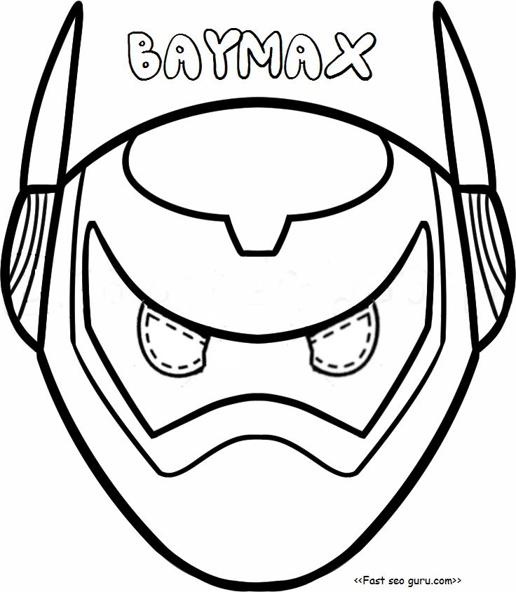 Printable Big Hero  Baymax Armor Mask Coloring Pages Cut Out