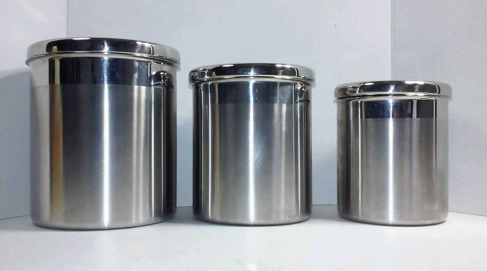Kirkland Brushed Stainless Steel 3 Pc Canister Set Air Tight Seal