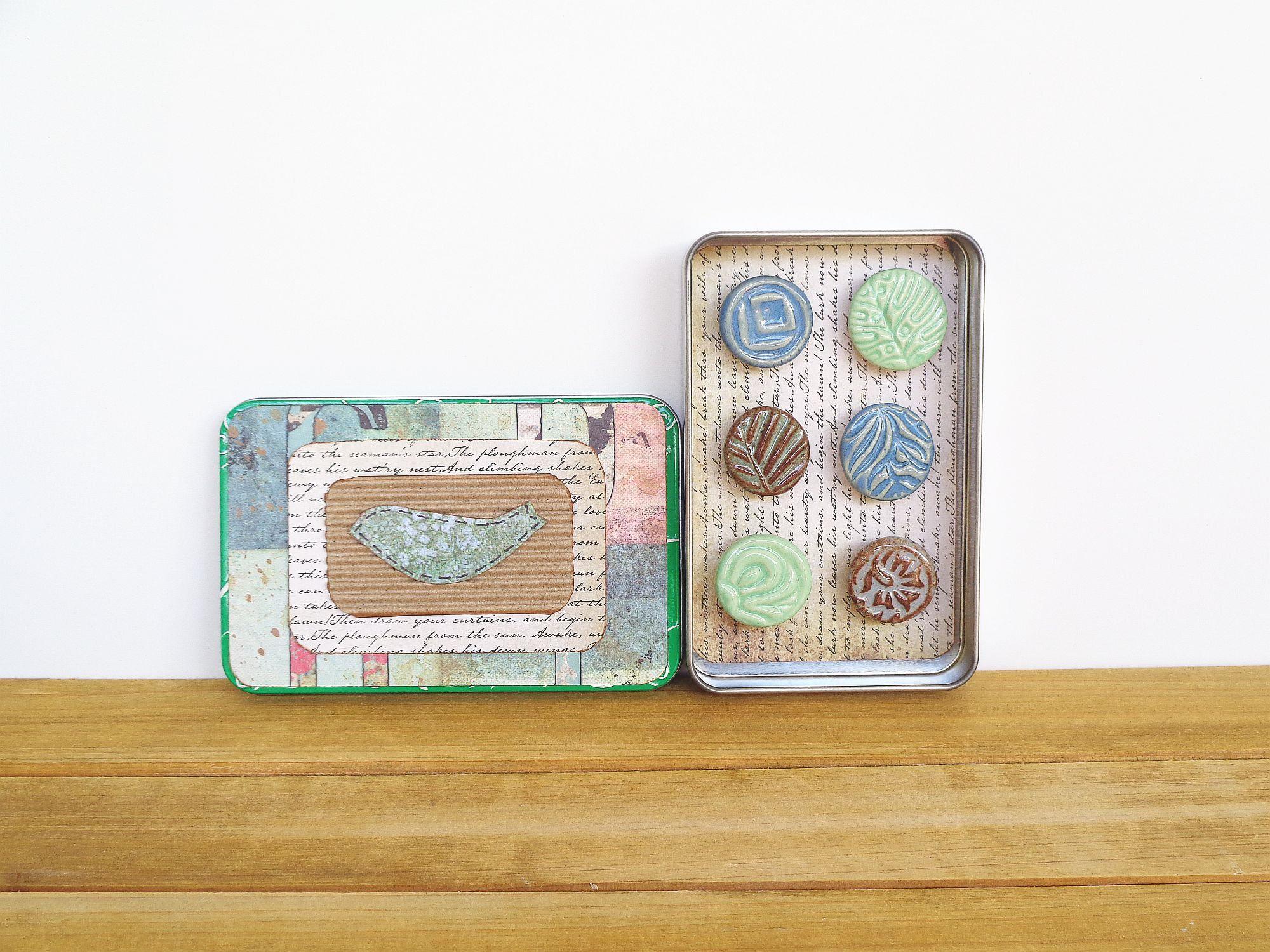 Ceramic Magnet Set Rustic Clay Fridge Magnet Set Of 6 Housewarming Gift Stocking Stuffer House Warming Gifts Handmade Fridge Magnets
