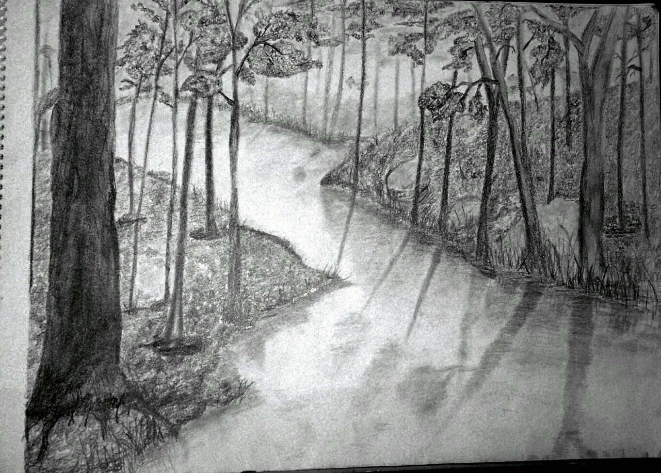 Pencil sketch of forest | Art, Artwork, Painting