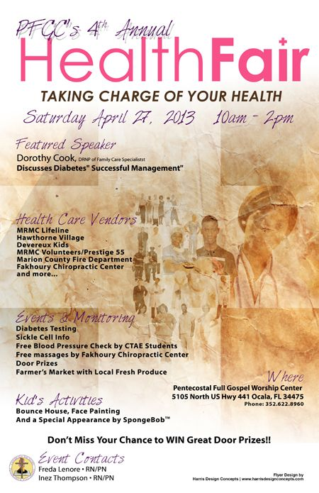 Flyer design for clients 4th annual health fair event 2013 HDC