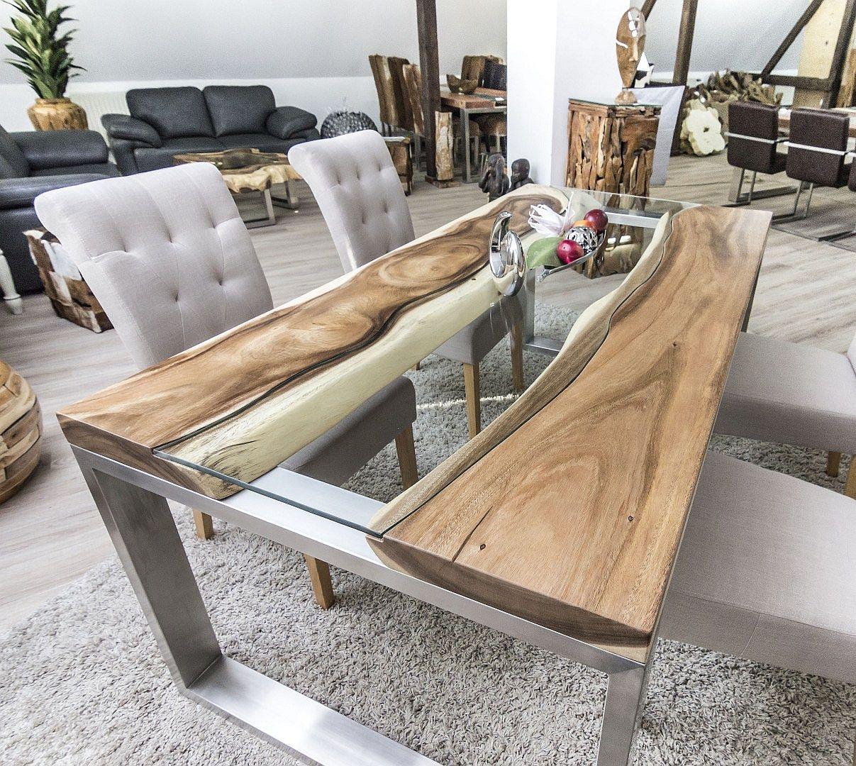 DER TISCHONKEL  Designertisch Massivholztisch mit Glas und Edelstahl  live egde tableraw