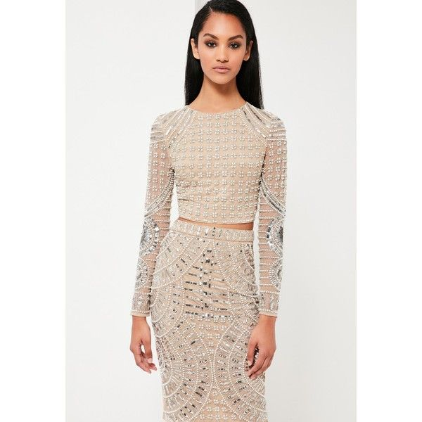 Missguided Peace Love Embellished Crop Top 72 Via Polyvore Featuring Tops Beaded Top White Crop Tops Seq Embellished Crop Top Crop Top Outfits Fashion
