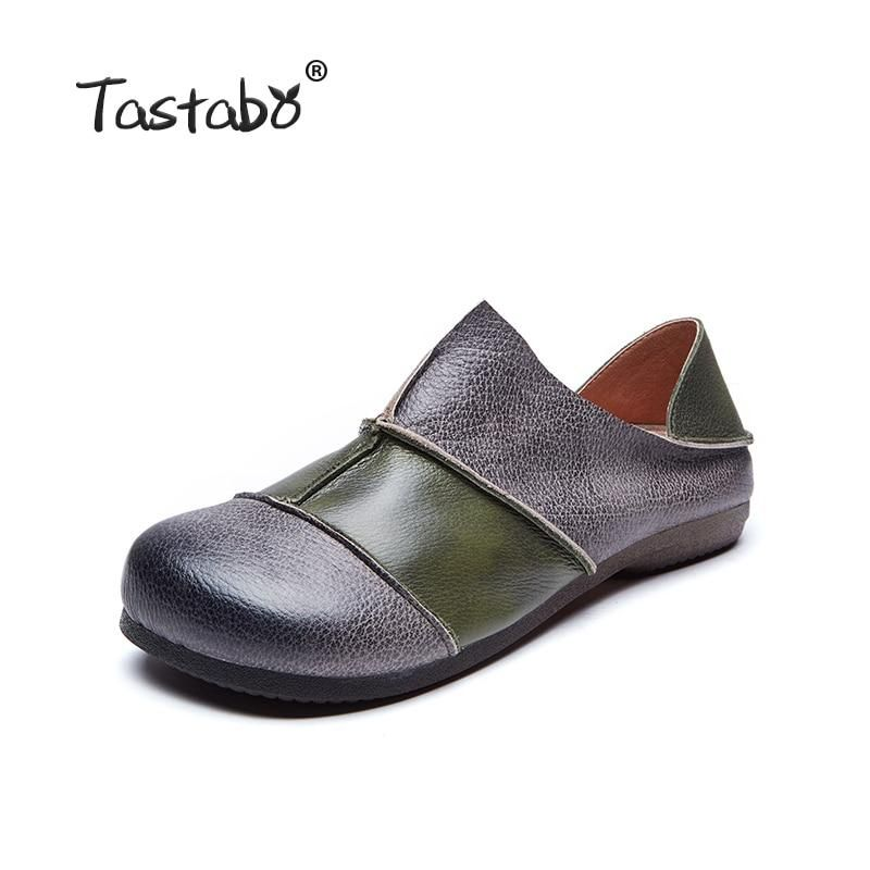 b60a1aa061 Tastabo Genuine Spring Leather Flat Shoe Driving Shoe Female Moccasins  Fashion Women Flats Hand-Sewing Shoes Wild women's shoes